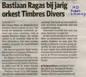 501 013 20071024 Jarig Timbres Divers Bastiaan Ragas